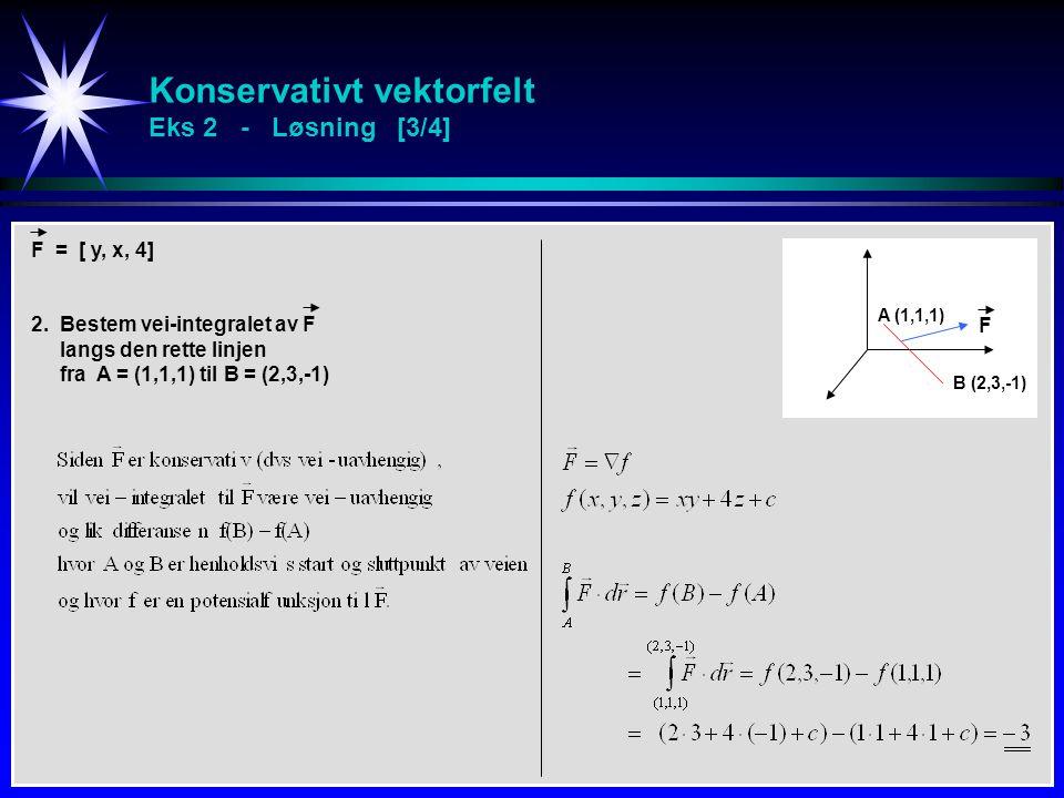 Konservativt vektorfelt Eks 2 - Løsning [3/4]